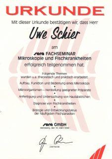 2004 - erfolgreiche Teilnahme am Fachseminar für Mikroskopie und Fischkrankheiten
